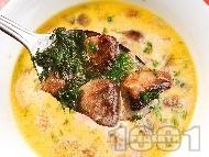 Гъбена чорба / супа с печурки, картофи, моркови, течна готварска сметана, куркума и чесън